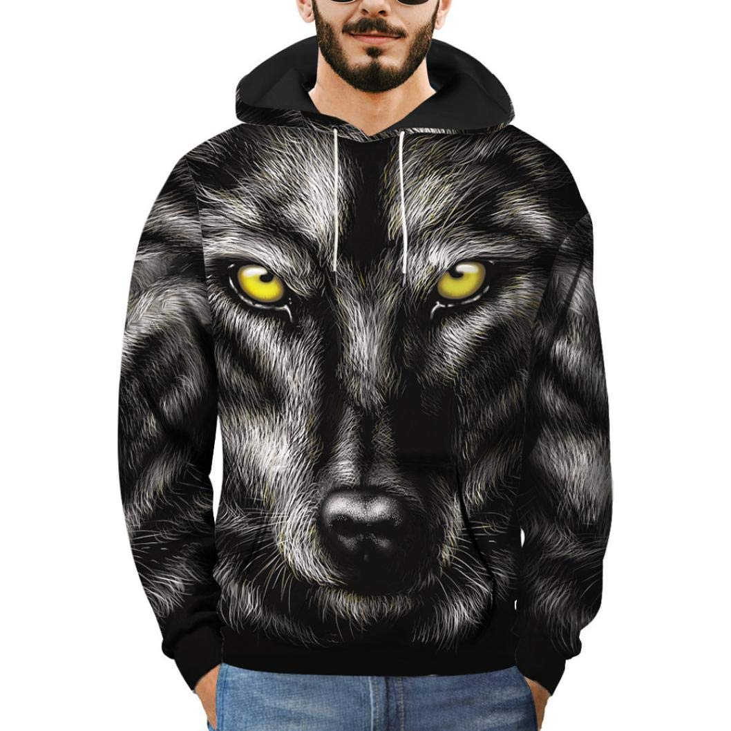 Mens 3D Printed Wolf Pullover Long Sleeve Hooded Sweatshirt Tops Blouse