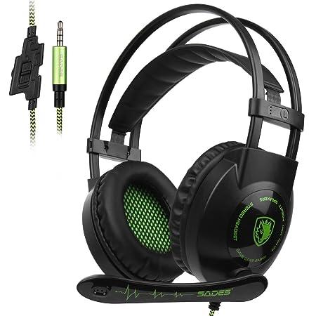 SADES 801 Stereo Surround Sound Kopfhörer Gaming Headset 3,5 mm Kabel Over-Ear-Kopfhörer mit Mikrofon Mic Lautstärkeregler fü
