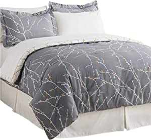 Bedsure 8-Piece Bed-in-A-Bag, Queen Comforter Set, Grey/Camel - Tree Branch Printed Soft Microfiber Bedding (1 Comforter, 2 Pillow Shams, 1 Flat Sheet, 1 Fitted Sheet, 1 Bed Skirt, 2 Pillowcases)