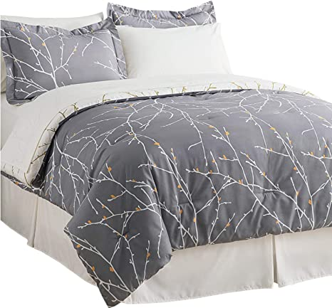 Amazon Com Bedsure Bed In A Bag Bedding Sets Queen With Comforter Queen Comforter Set 8 Pieces Grey Tree Branch Printed 1 Comforter 2 Pillow Shams 1 Flat Sheet 1 Fitted Sheet