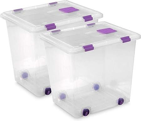 TODO HOGAR - Caja Plástico Almacenaje Grandes Multiusos con Ruedas - Medidas 510 x 410 x 460 - Capacidad de 70 litros (2): Amazon.es: Hogar