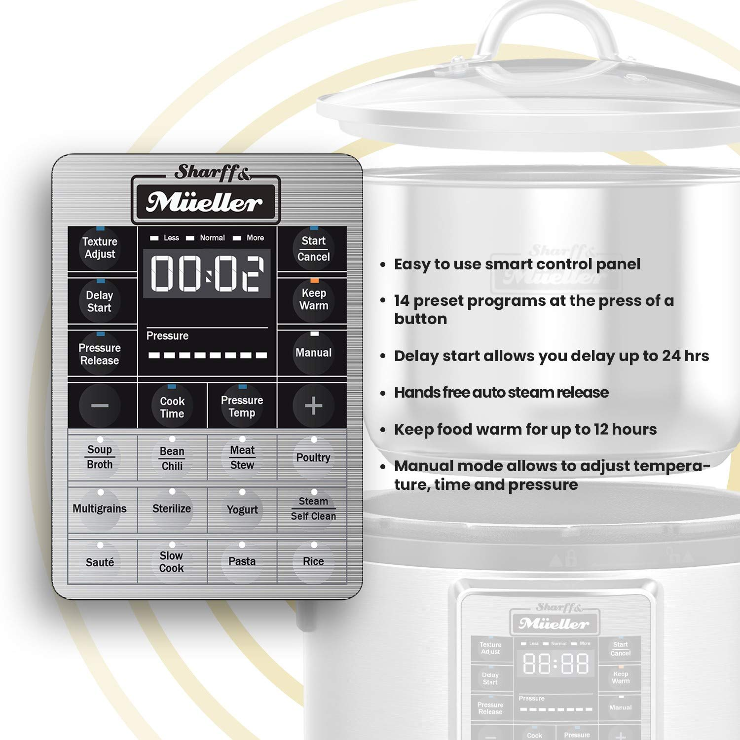 Electric Pressure Cooker 6 Quart Stainless Steel 12 in 1 Programmable Multipot Cooker Duopro RecipeBook Included by Sharff and Mueller by Sharff & Müeller (Image #4)