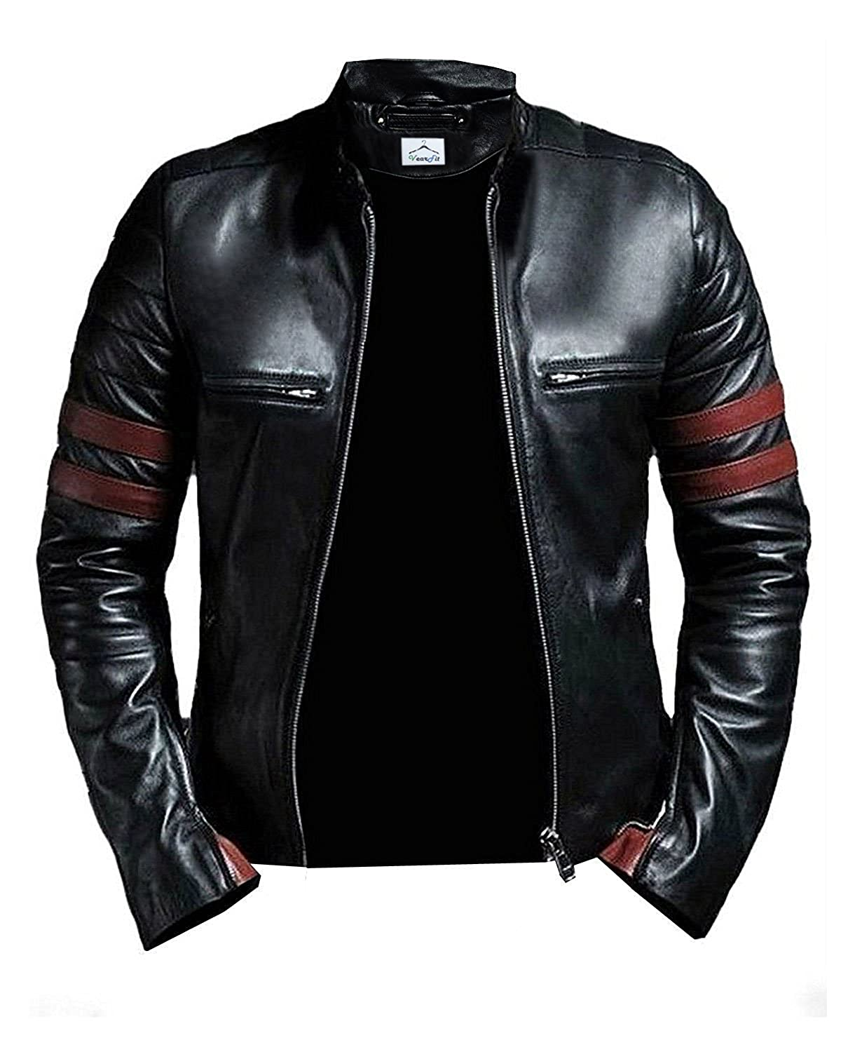 VearFit Hybrid Mayhem Hero Black PU Faux Leather Biker Jacket for Men HF16-M10