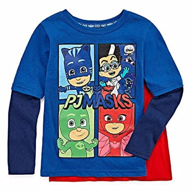 7a9246dc PJ Masks Toddler Little Boys Long Sleeve Shirt with Detachable Cape (Blue,  2T)