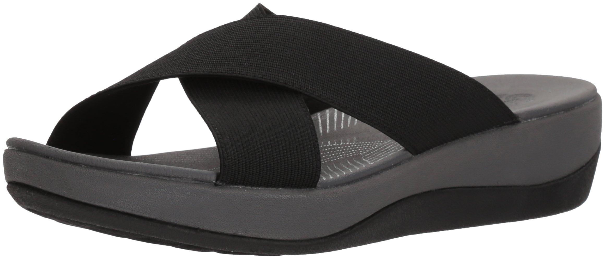 CLARKS Women's Arla Elin Sandal, Black Solid Textile, 8 Medium US by CLARKS