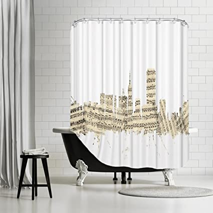American Flat San Francisco Skyline Sheet Music Cityscape Art Pause Shower Curtain By Michael Tompsett