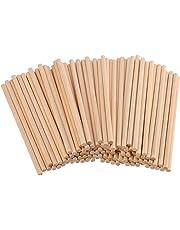 Varillas de madera natural sin terminar para manualidades, 100 unidades