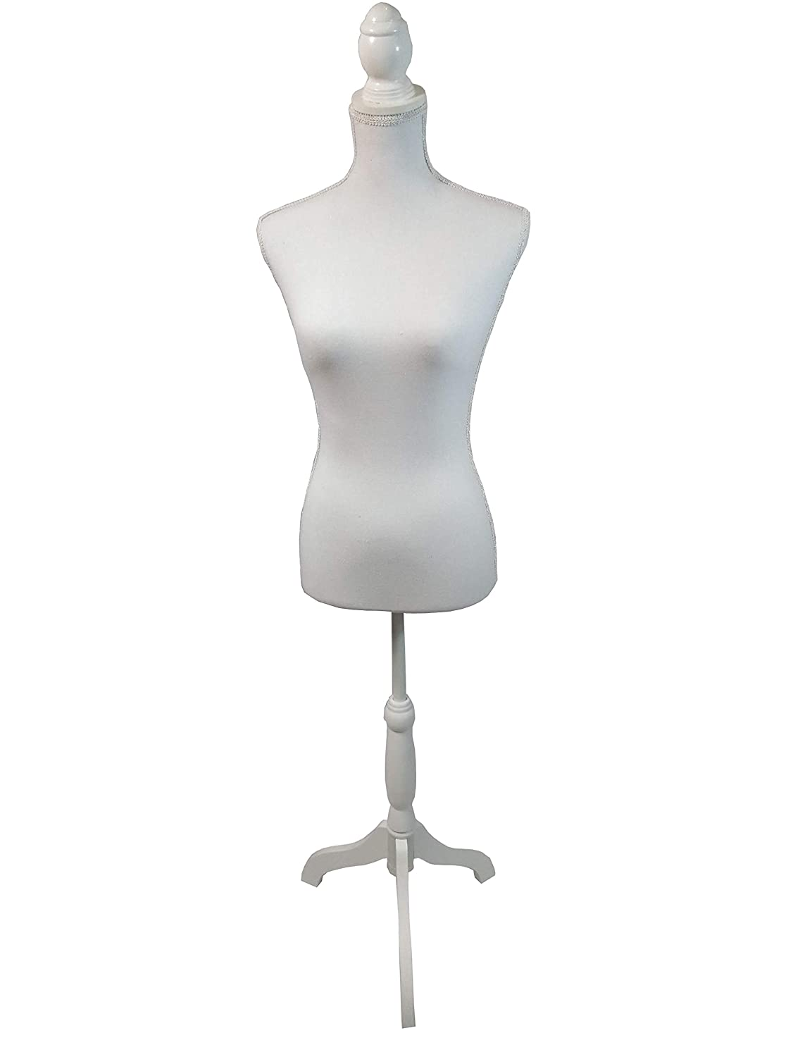 The Urban Port White Female Adjustable Mannequin Torso with Wooden Tripod Stand Benzara C208-123033