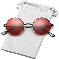 Round Polarized Sunglasses for Women Men Classic Vintage Designer Style Shades - 100% UV Blocking