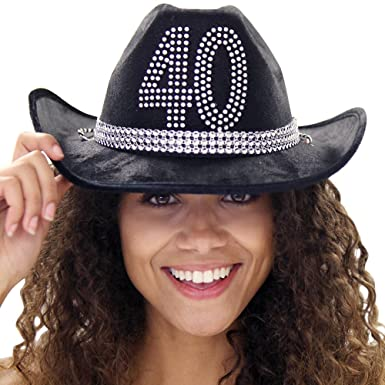 Country Western 40th Birthday Rhinestone Black Hat