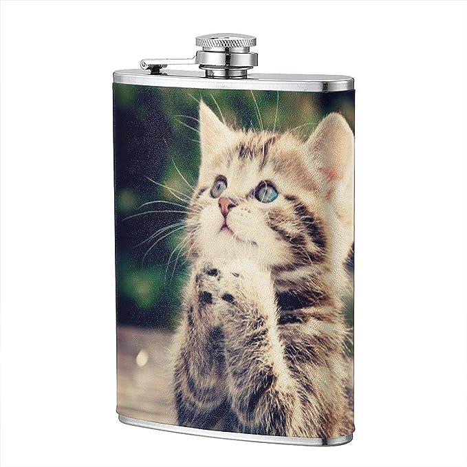 Petaca con diseño de gato de animales y gatos, de acero inoxidable, portátil, para campamento, al aire libre, taza de vino, etc.: Amazon.es: Hogar