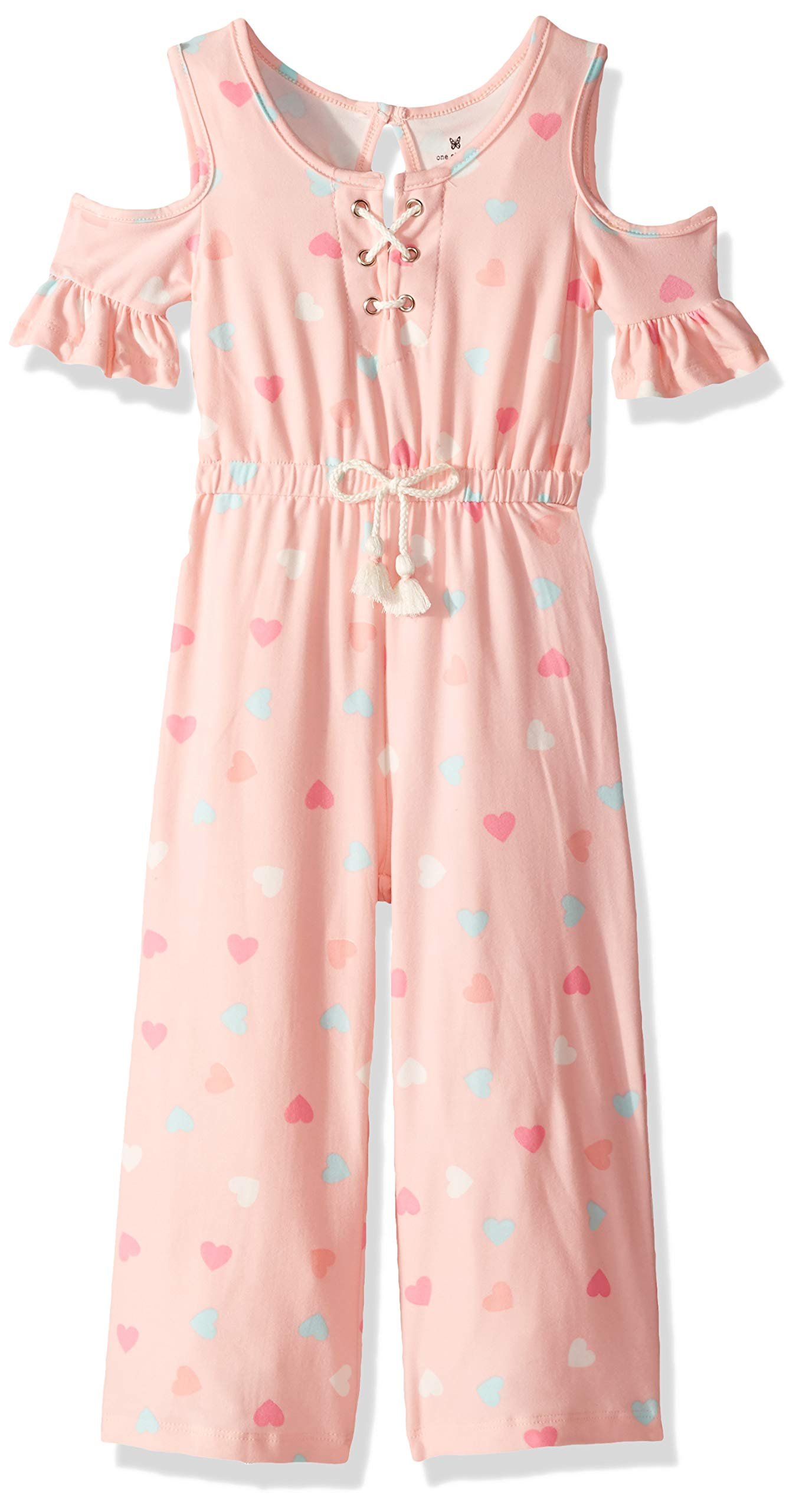 One Step Up Girls' Big Knit Jumpsuit, Pink Heart, 7/8 by One Step Up