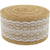 Burlap Ribbon Roll White Lace Trims Tape Natural Jute 156 Inches