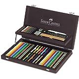 Faber-Castell 110088 - Estuche de madera con equipo básico de las 3 gamas, ecolápices polychromos, tizas, grfitos y accesorios