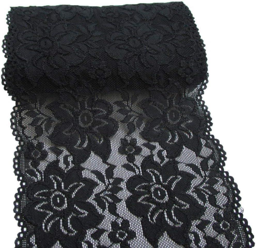 Yulakes 5 Yards Bianco Nero Elastico Pizzo Bordatura Bordatura in Pizzo Fiore Bordatura per Artigianato Abito di Nozze Decorazione 15 cm di Larghezza Nero