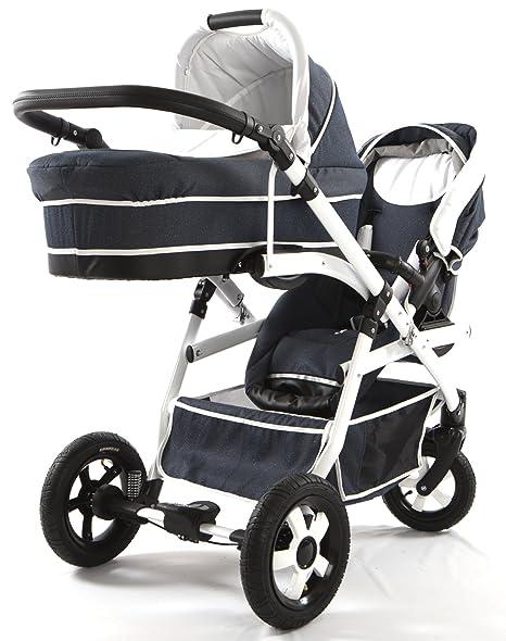 Carro doble (gemelar) niños diferentes edades. 2 sillas + 1 capazo + 1 portabebe + accesorios.: Amazon.es: Bebé