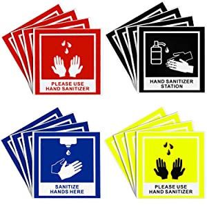 Hand Sanitize Signs Sanitize Hands Here Stickers 5.7 x 5.7 Inch for Restaurant Sinks, Food Trucks, Kitchens and More, Weather Resistant Anti-Scratch Hand Washing Labels for Indoor Outdoor (16)