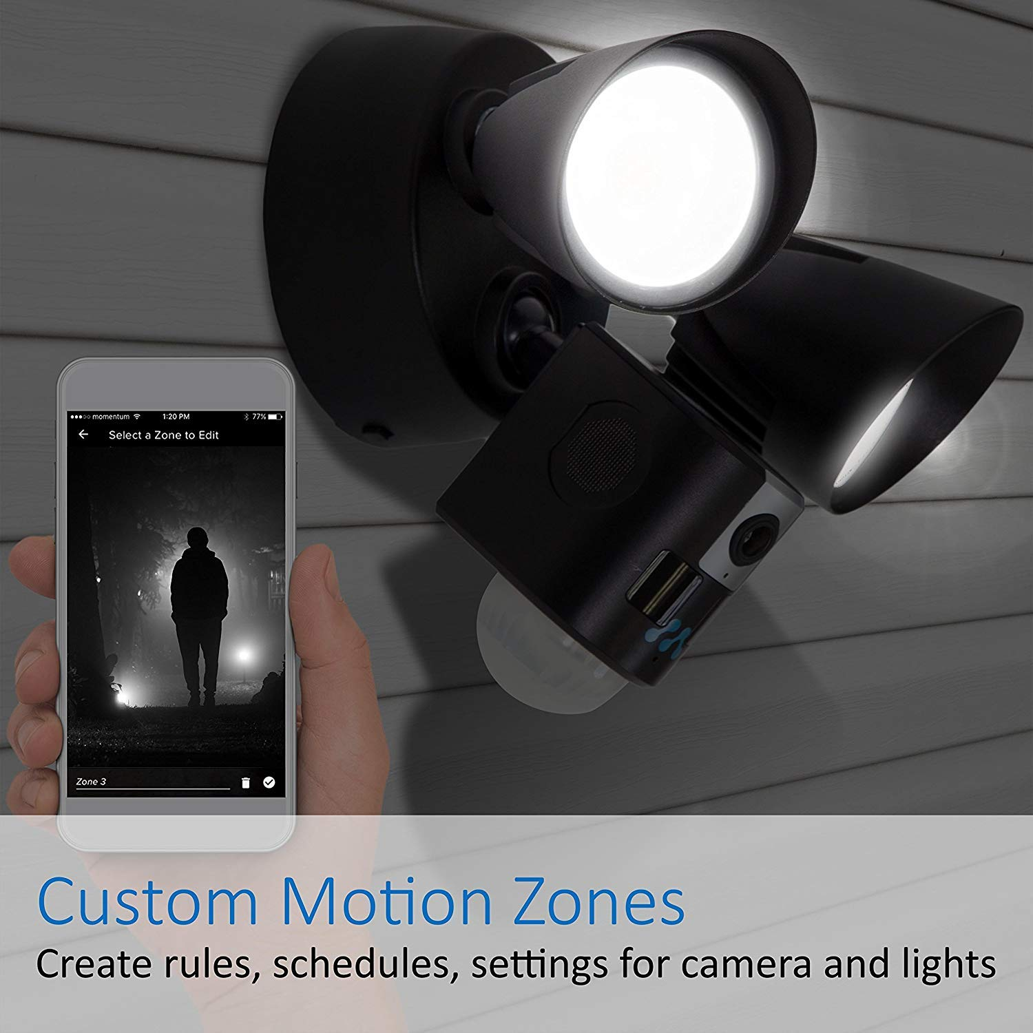 Momentum Aria Outdoor Floodlight Camera Motion-Activated HD Security Cam  2-Way Talk, Siren, LED Bulbs for iOS & Android