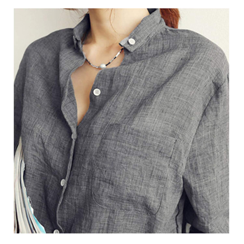 Womens Tops Linen White Shirt Women Long Sleeve Blouse Korean Woman Clothes
