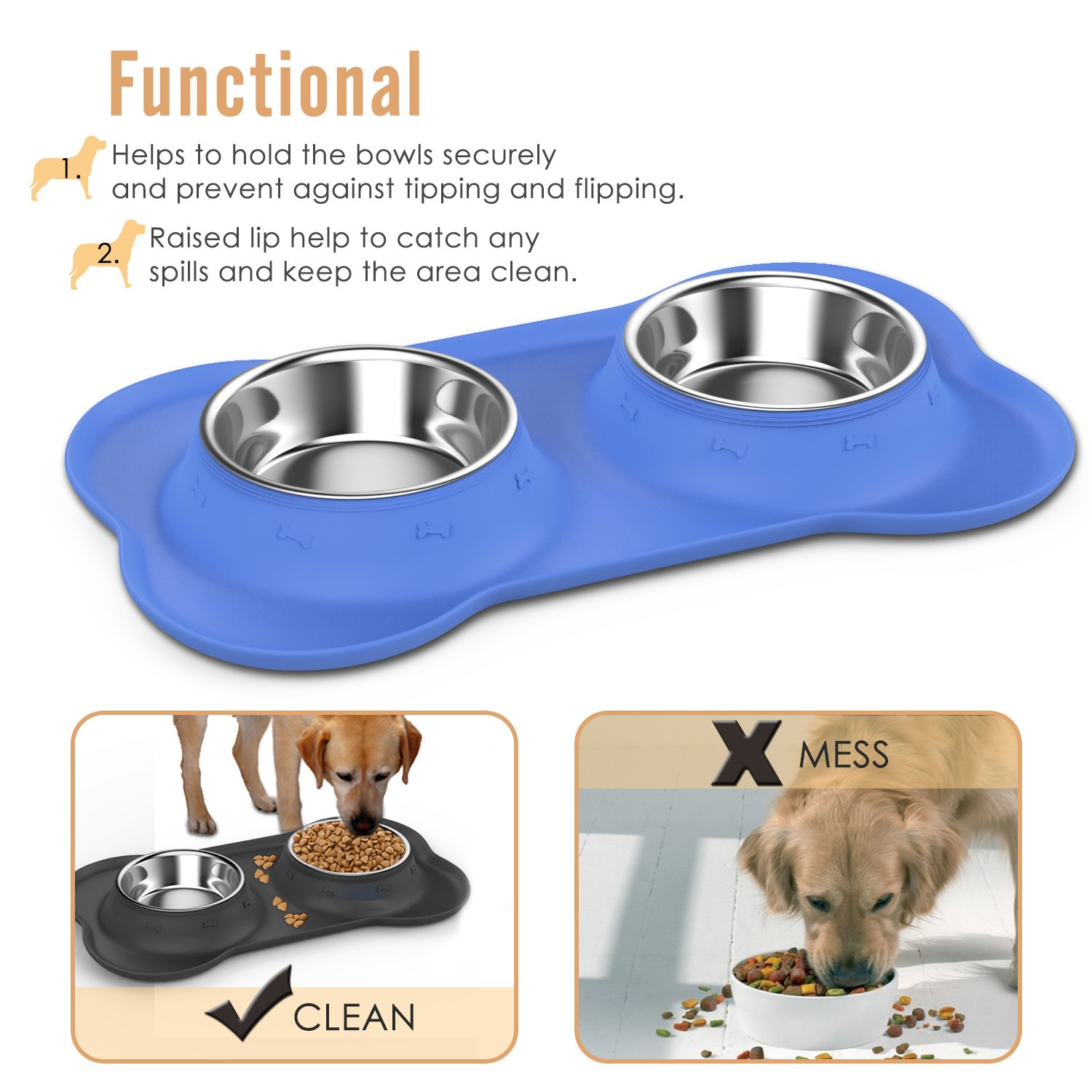 Pawaboo Pet Dog Cat Bowls, Premium Stainless Steel Pet Feeder with Food Grade Bone Shaped Rubber Base, 4.33 Inch Diameter Bowls for Pet Dog Cat Food or Water, Set of 2, Small Size, BLUE by PAWABOO (Image #4)
