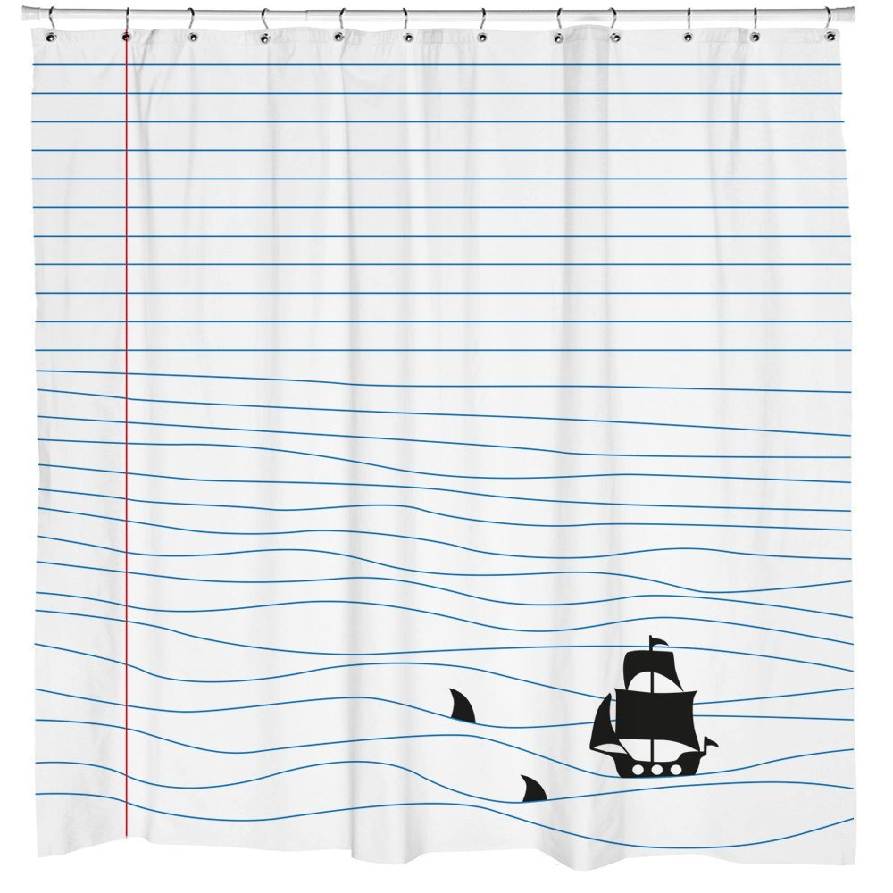 Sharp Shirter Notepad Sharks Urban Outfitters Shower Curtain Funny Bathroom Art