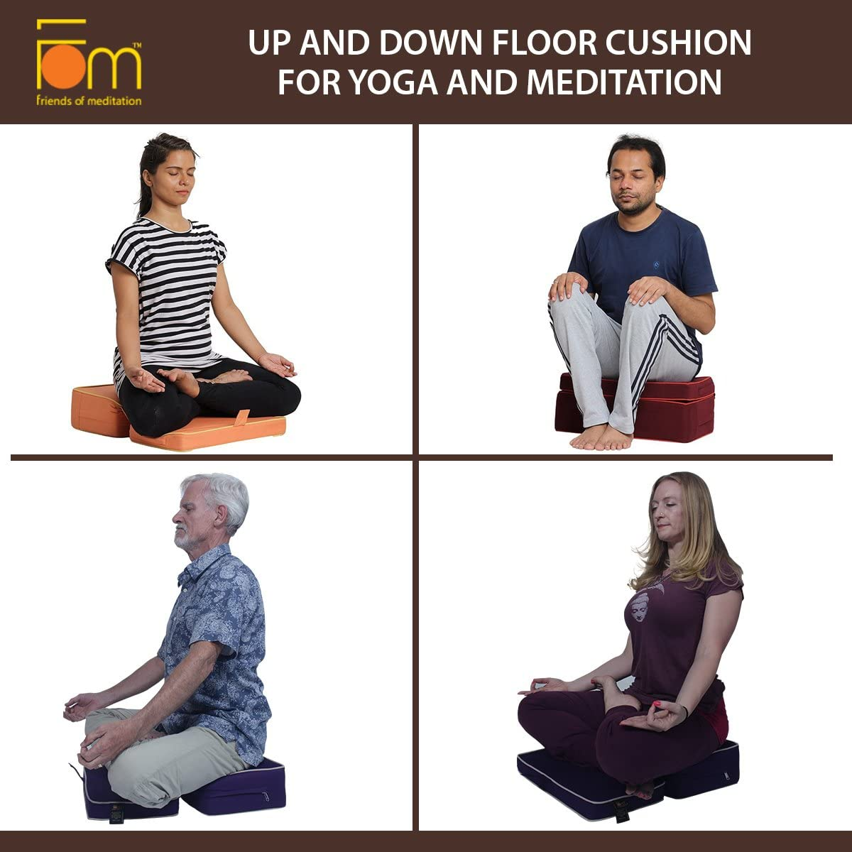 Friends Of Meditation Up and Down Floor Cushion for Yoga and Meditation