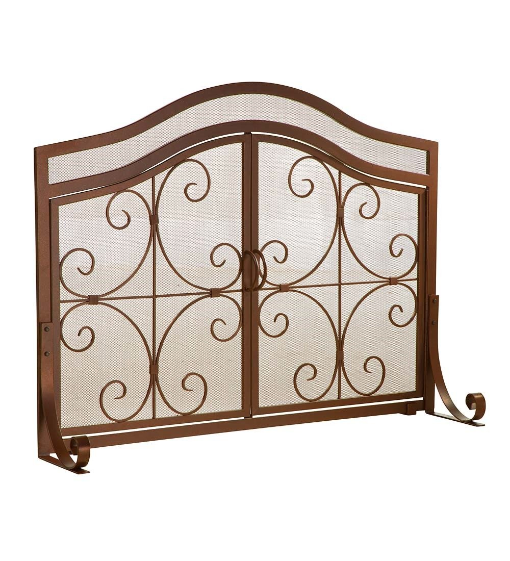 Small Crest Fireplace Screen with Doors, Solid Wrought Iron Frame with Metal Mesh, Decorative Scroll Design, Free Standing Spark Guard 38 W x 31 H x 13 D, Copper Finish