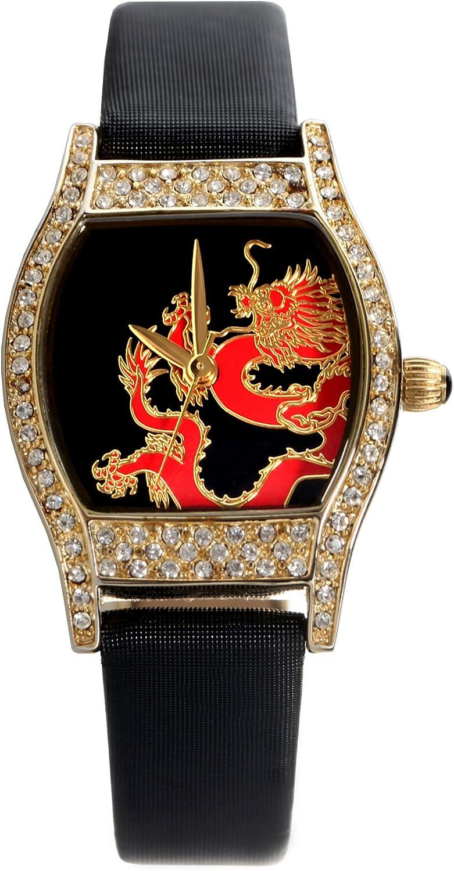 Time100 Reloj Cuarzo Mujer Reloj Cuadrado con la Correa Piel Esfera con Diamantes Destello de la Moda