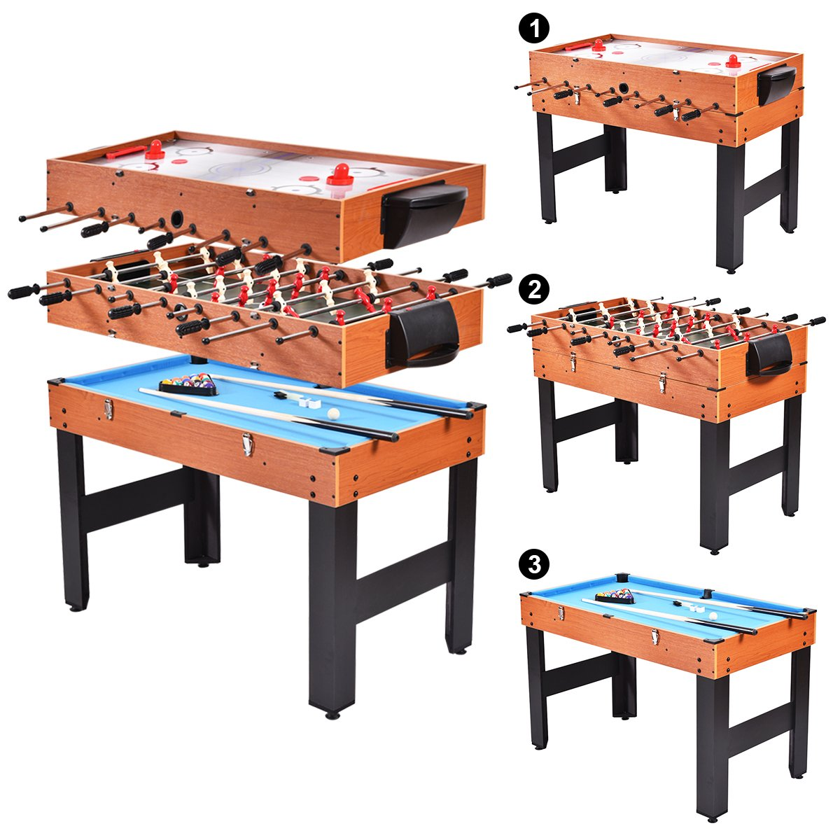 GYMAX Multi Game Table, 3-in-1 Multifunction Foosball Billiard Slide Hockey Combo Arcade Game Table