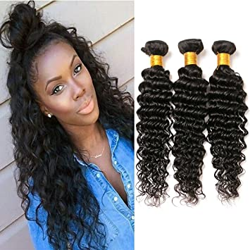 Brazilian Deep Curly Bundles Sew In Hair Extensions Human Hair Deep Wave 3  Bundle Short Remy a0baee019957