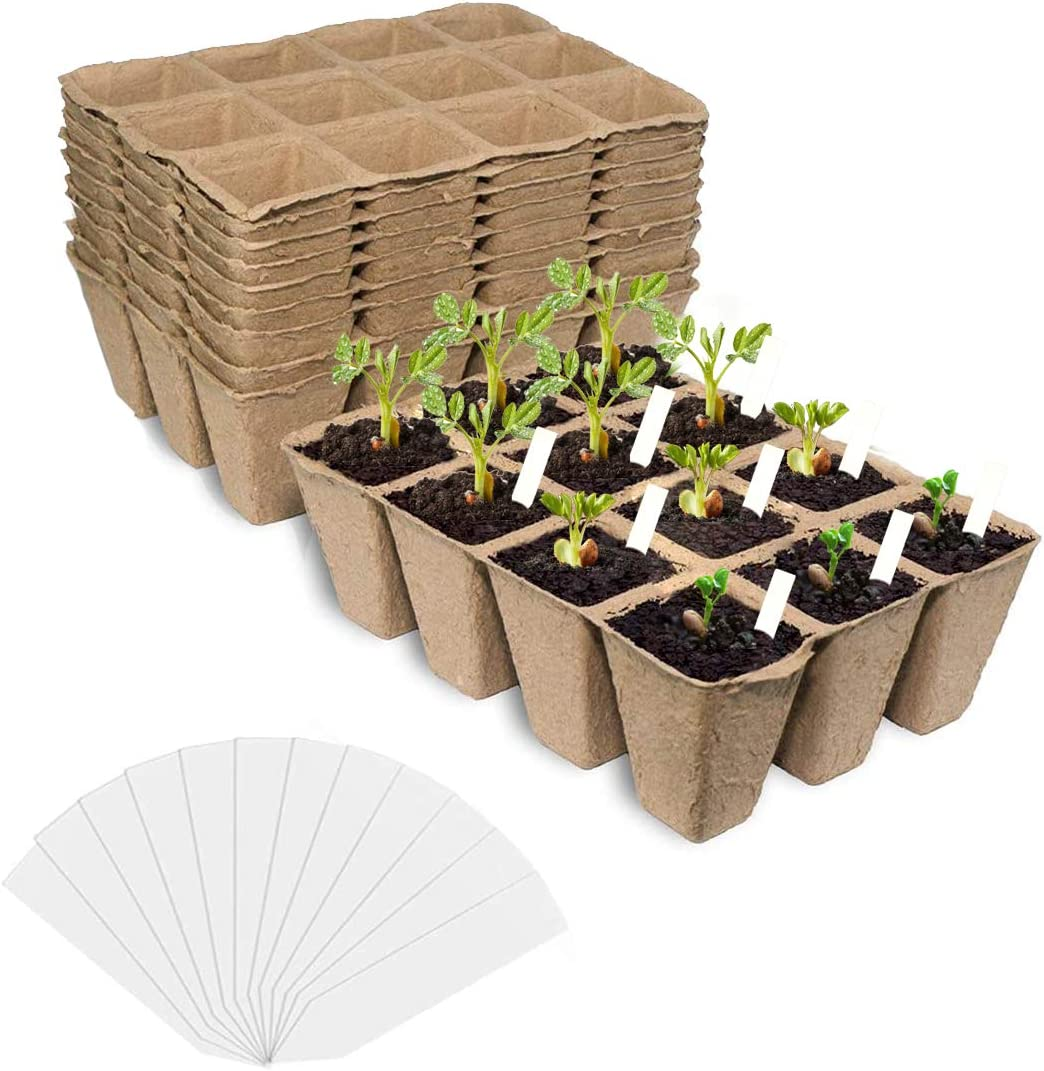 Reafoo Seed Starter Tray kit,Peat Pots for Vegetable & Flower,120 Cells Biodegradable Seedling Pots Germination Trays,Organic Plant Starter Kit with 30 Pcs Plant Labels…