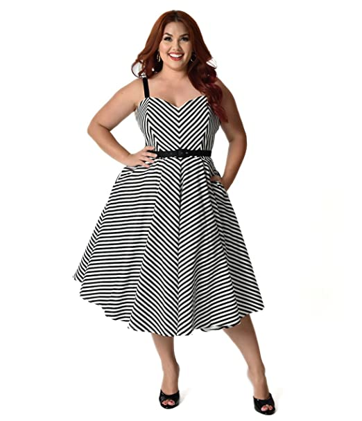 3edf69caee021 Unique Vintage Vixen by Micheline Pitt Plus Size Black Chevron Stripe  Dollface Swing Dress