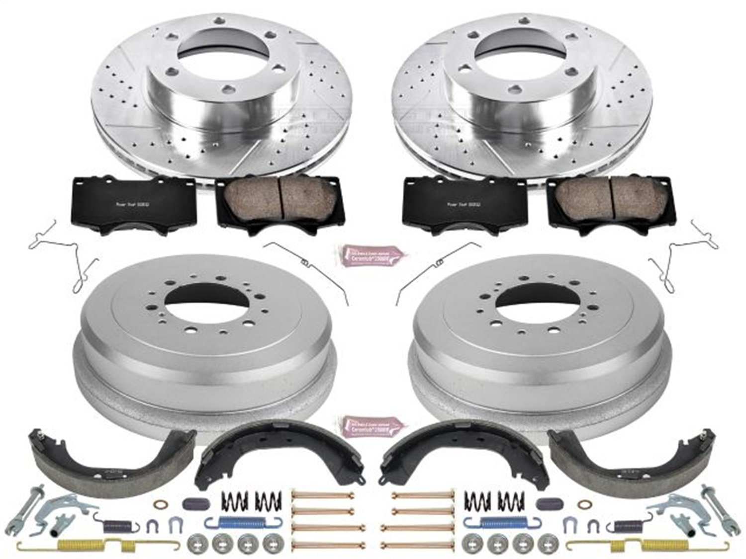 Rotor Power Stop Front /& Rear K15098DK Performance Pad Drum and Shoe Kits
