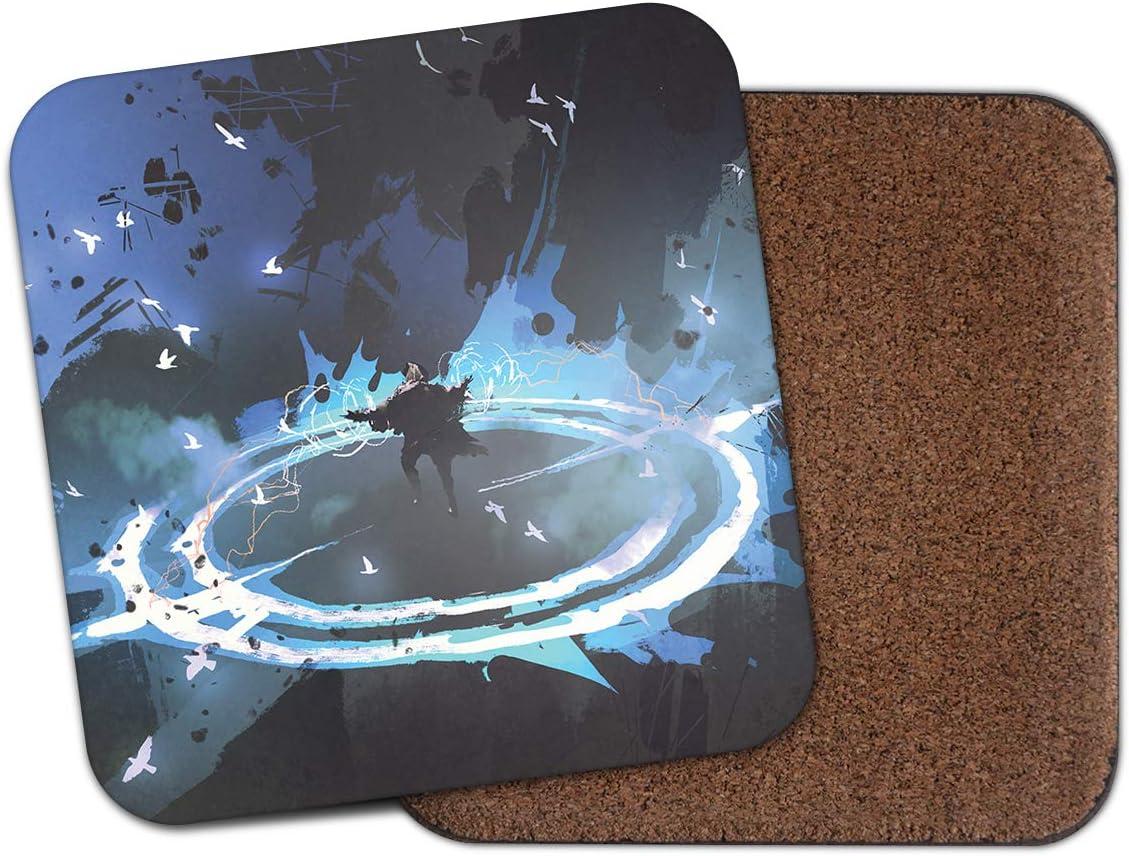1 X Fantasy Magic Spell Coaster Neon Blue Teen Son Brother Cool Fun Gift 14110 Amazon Co Uk Kitchen Home