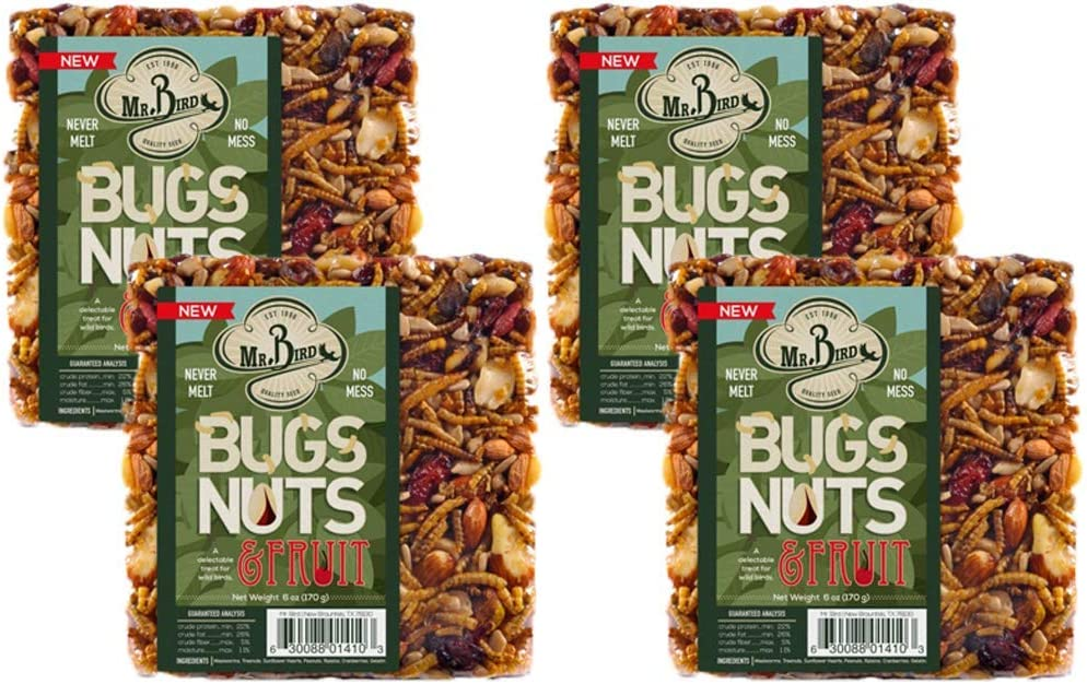 Mr. Bird Bugs, Nuts, Fruit Small Wild Bird Seed Cake 6 oz.