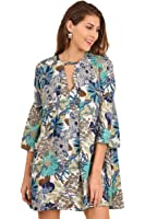 umgee USA Boho Floral Print Hippie Dress Tunic With Keyhole Neckline and Bell Sleeves