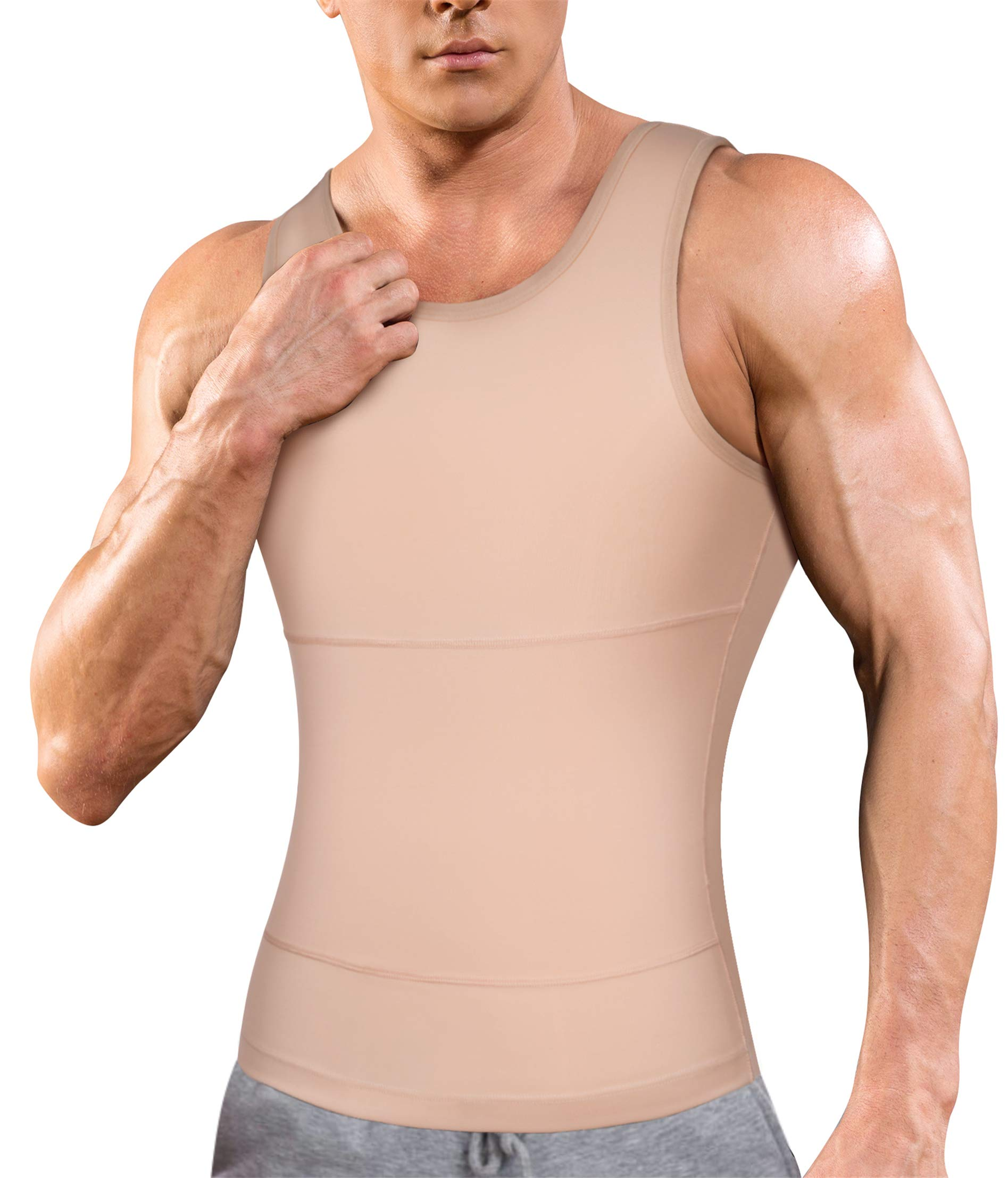 Mens Compression Shirt Slimming Body Shaper Vest Workout Tank Tops Abs Abdomen Undershirts (Beige, L)