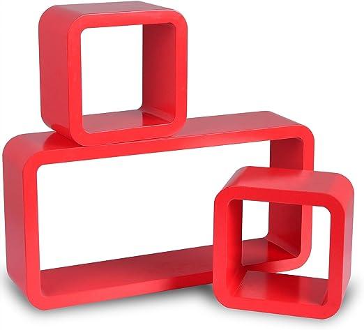 etagere cube murale rouge