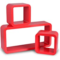 WOLTU 9212 Estante de Pared Juego de estantes Cubo de 3 estantes estanterías, Cubos Colgantes Retro, Coral