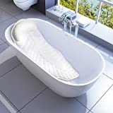 Full Body Spa Bath Pillow Mat, Natural Non-Slip Bathtub Mattress Luxury Cushion with Large Suction Cups, Comfort Support Your Head, Neck, Shoulder, Back and Tailbone, Anti Bacteria & Quick Drying