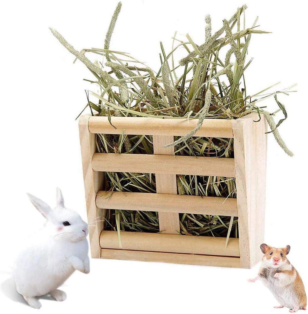 Chinchilla Hay Rack,Bunny Hay Feeder,Guinea Pig Hay Holder,Rabbit Food Dispenser,Natural Wooden,Hamster,Rabbit Cage Accessories by BLSMU