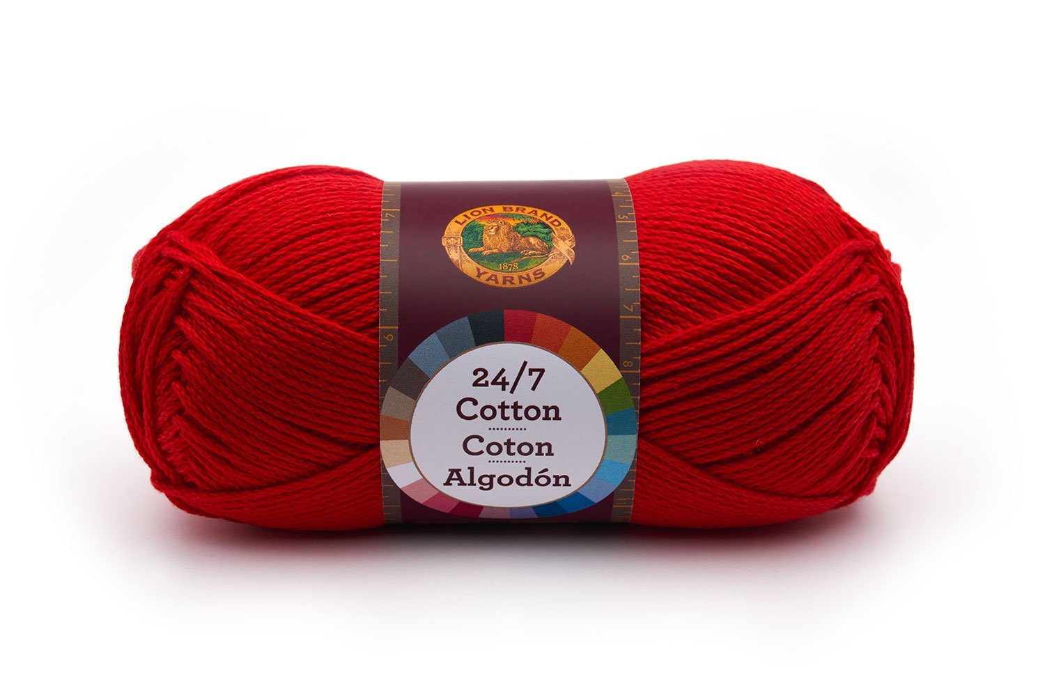 Lion Brand Yarn 761-113 24-7 Cotton Yarn, Red