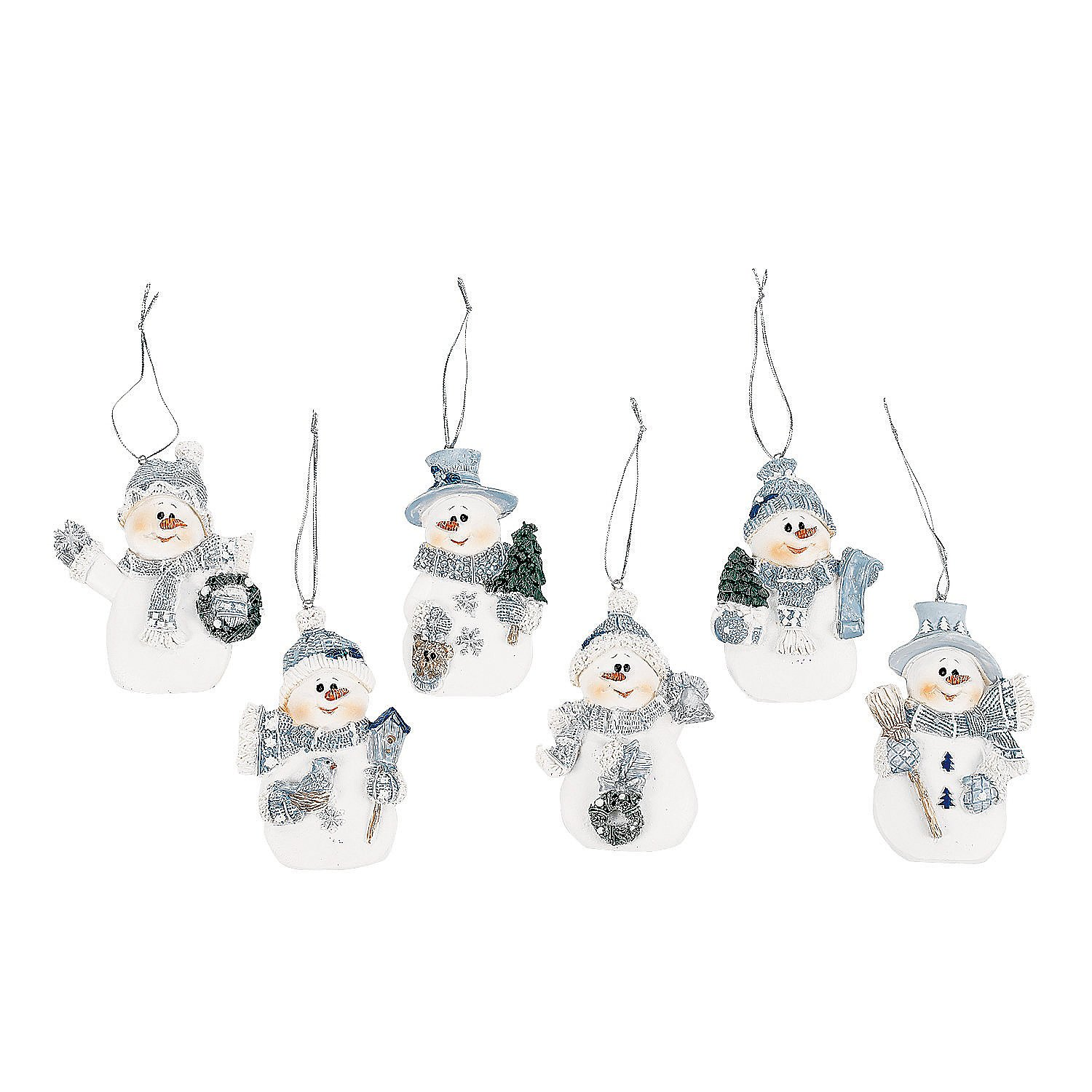 Amazoncom Resin Blue Snowman Christmas Ornaments (Pack Of 12) Home