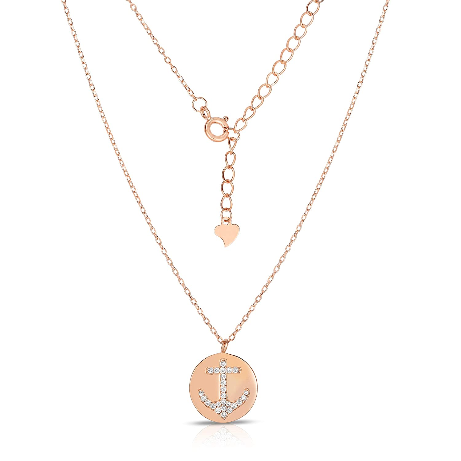 Unique royal jewelry Solid 925 Sterling Silver Cubic Zirconia Nautical Anchor Pendant and Continuous Adjustable Length Necklace 16-18 14K Rose Gold Plated Silver