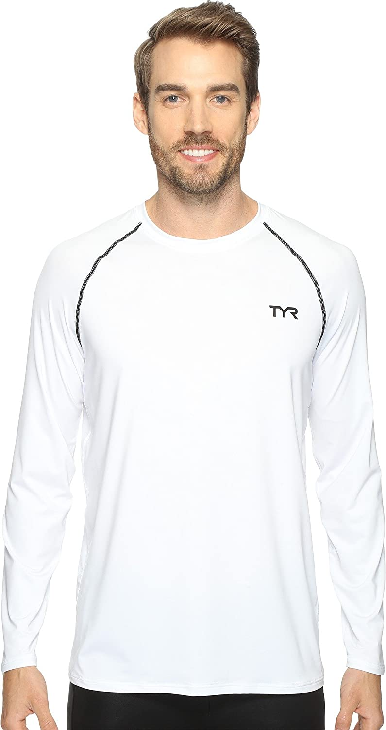 TYR Mens L/S Rashguard, White, Small