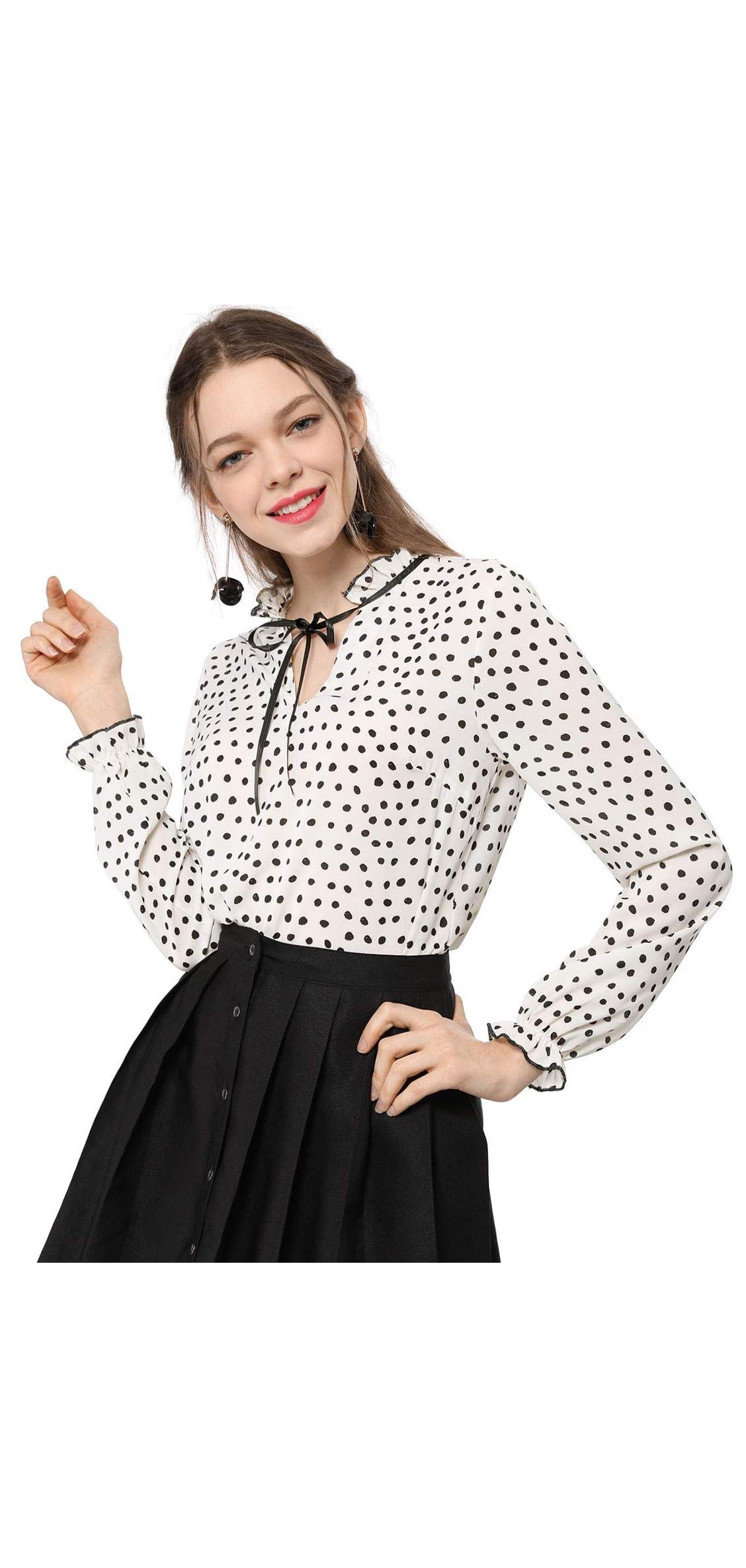 Women's Tie Ruffle Neck Polka Dot Blouse Vintage Bell