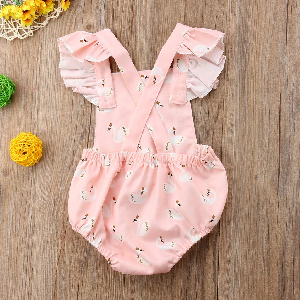 WOCACHI Toddler Baby Girls Clothes Toddlers Infant Baby Kids Hearts Printed Headband+Romper Clothes Set Outfits