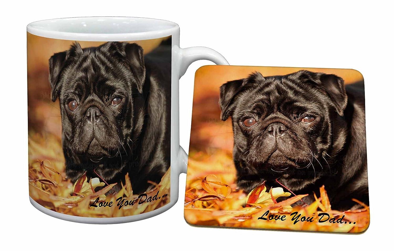 Black Pug \'Love You Dad\' Becher und Untersetzer Tier ...