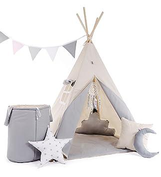 Indianerzelt Tipi Set für Kinder Spielzeug drinnen draußen Spielzelt Zelt  mit Korb Tipi-Set Indianer Indianertipi (Tipi mit 8 Elementen, Grau - der  ...