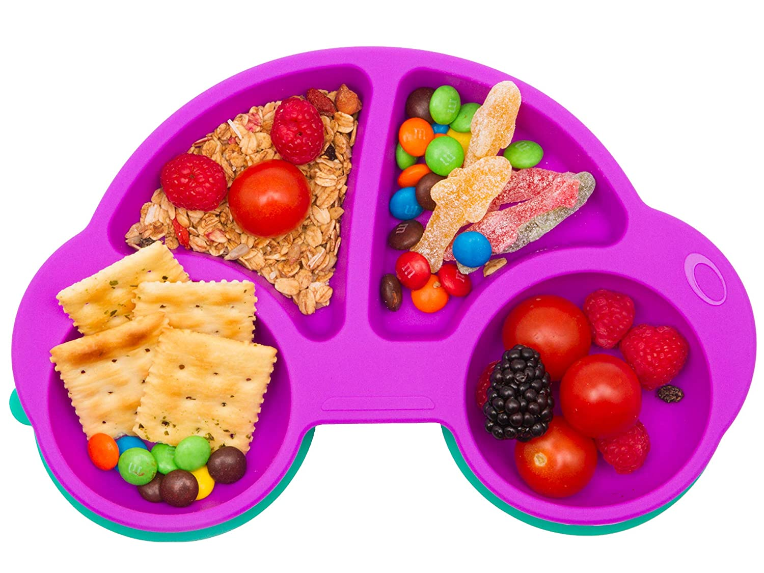 Qshare Toddler Plates, Portable Baby Plates for Toddlers, BPA-Free Strong Suction Plates for Toddlers, Dishwasher and Microwave Safe Silicone Placemat 10x7x1''